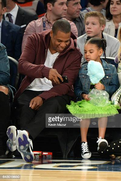 Jay Z and Blue Ivy Carter attend the 66th NBA AllStar Game at Smoothie King Center on February 19 2017 in New Orleans Louisiana