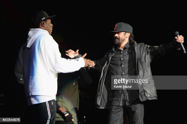 Jay Z and Damian Marley perform onstage during the 2017 Budweiser Made in America festival Day 2 at Benjamin Franklin Parkway on September 3 2017 in...