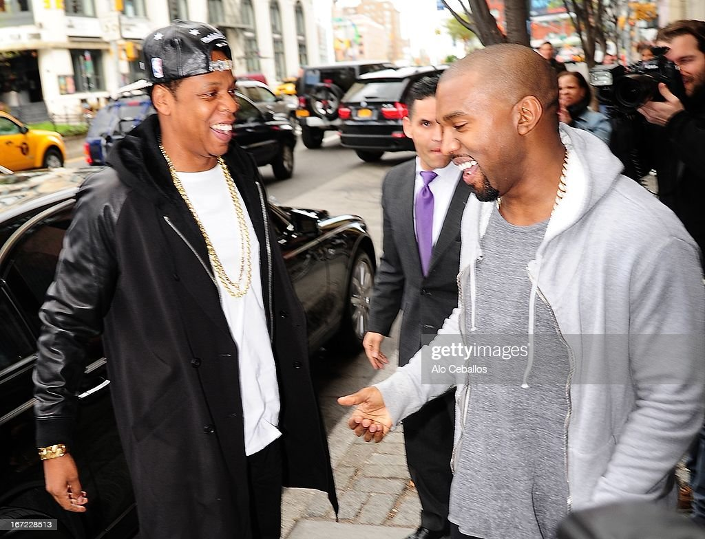 Jay Z and Kanye Westare seen in Soho on April 22, 2013 in New York City.
