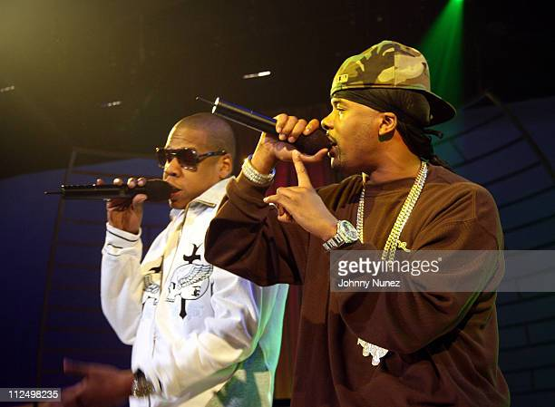 Jay Z and Memphis Bleek during Jay Z Performs on 106 Park with Nas Pharrell and Timbaland November 8 2006 at BET Studios in New York City New York...
