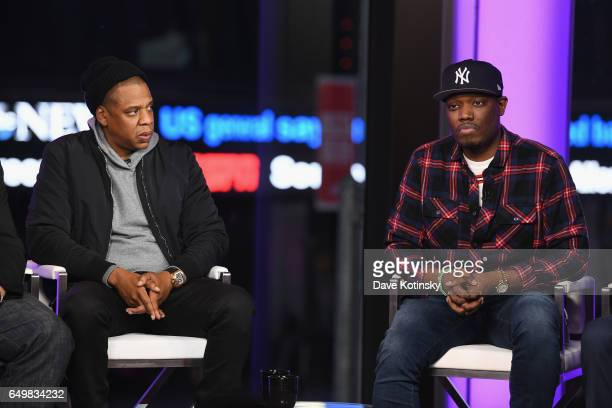 Jay Z and Michael Che speak onstage during TIME AND PUNISHMENT A Town Hall Discussion with JAY Z and Harvey Weinstein on Spike TV at MTV Studios on...