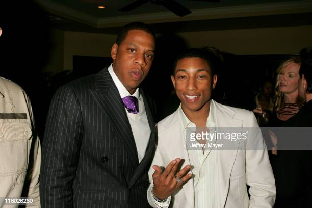 Jay Z and Pharrell Williams during Universal Music Group 2005 PostGRAMMY Party at The Palms Restaurant in Los Angeles California United States
