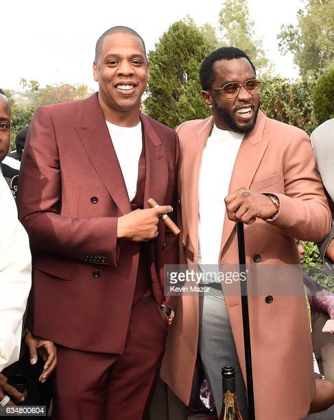 Jay Z and Sean Combs attend 2017 Roc Nation PreGRAMMY brunch at Owlwood Estate on February 11 2017 in Los Angeles California