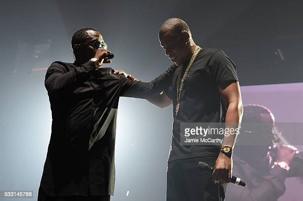Jay Z and Sean 'Diddy' Combs aka Puff Daddy perform onstage during the Puff Daddy and The Family Bad Boy Reunion Tour presented by Ciroc Vodka And...