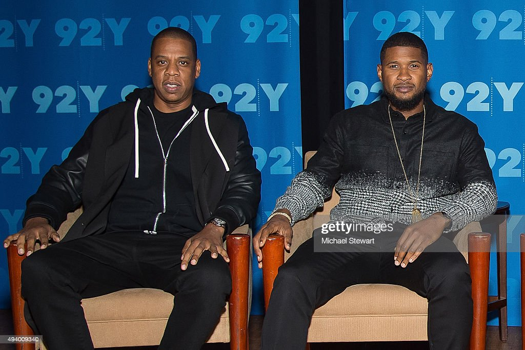 Jay Z (L) and Usher attend 92nd Street Y Presents: 'Breaking The Chains' of Social Injustice at 92nd Street Y on October 23, 2015 in New York City.