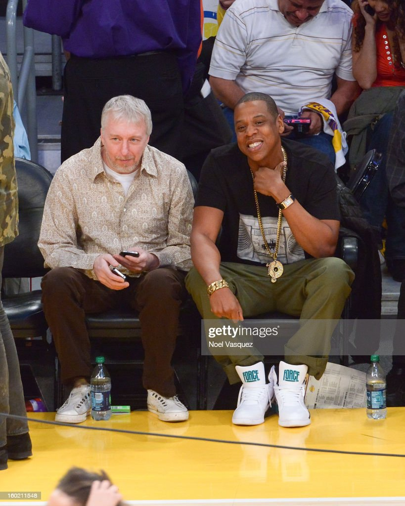 Jay Z (R) attends a basketball game between the Oklahoma City Thunder and the Los Angeles Lakers at Staples Center on January 27, 2013 in Los Angeles, California.