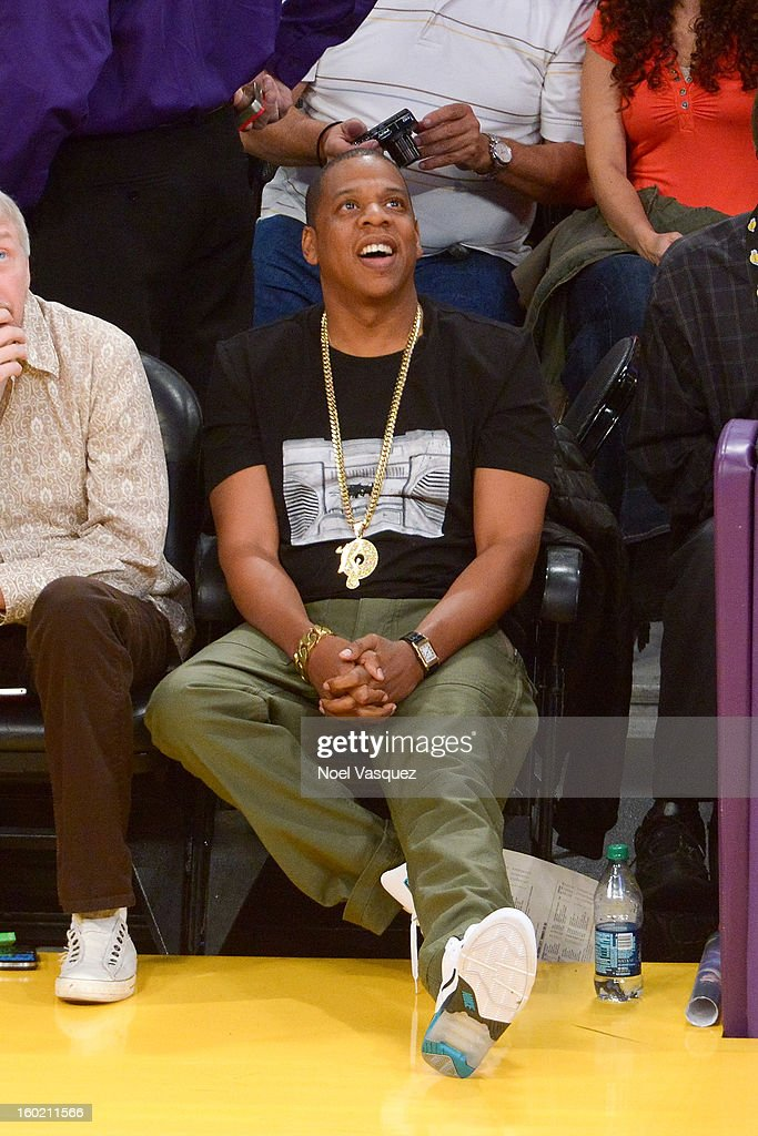 Jay Z attends a basketball game between the Oklahoma City Thunder and the Los Angeles Lakers at Staples Center on January 27, 2013 in Los Angeles, California.
