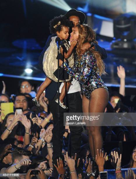 Jay Z Beyonce and Blue Ivy Carter onstage at the 2014 MTV Video Music Awards at The Forum on August 24 2014 in Inglewood California