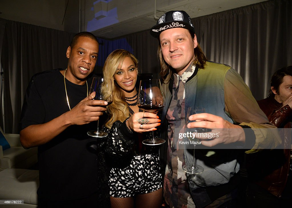 Jay Z, Beyonce and Win Butler of Arcade Fire attend the Tidal launch event #TIDALforALL at Skylight at Moynihan Station on March 30, 2015 in New York City.