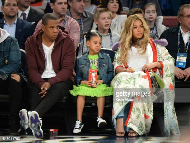 Jay Z Blue Ivy Carter and Beyoncé Knowles attend the 66th NBA AllStar Game at Smoothie King Center on February 19 2017 in New Orleans Louisiana