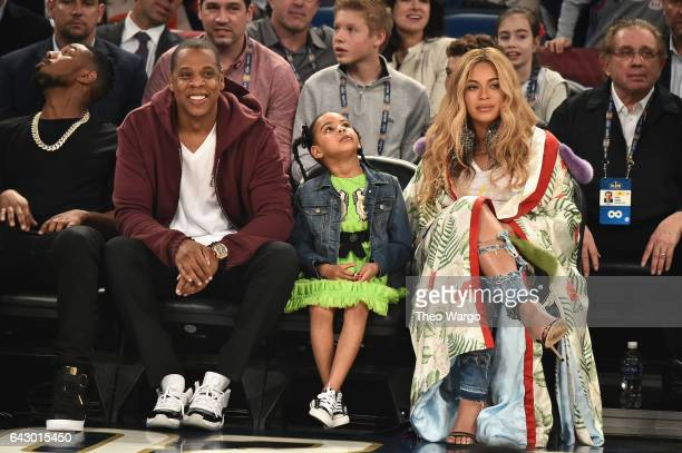 Jay Z Blue Ivy Carter Beyoncé Knowles attend the 66th NBA AllStar Game at Smoothie King Center on February 19 2017 in New Orleans Louisiana