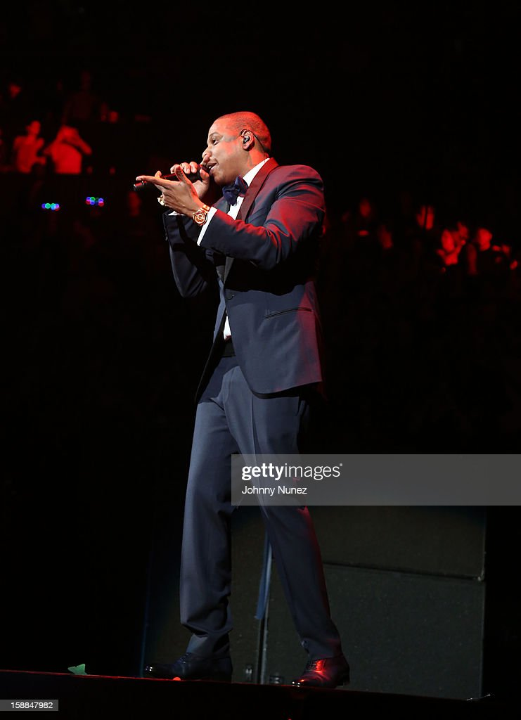 Jay Z performs at Barclays Center on December 31, 2012 in the Brooklyn borough of New York City.