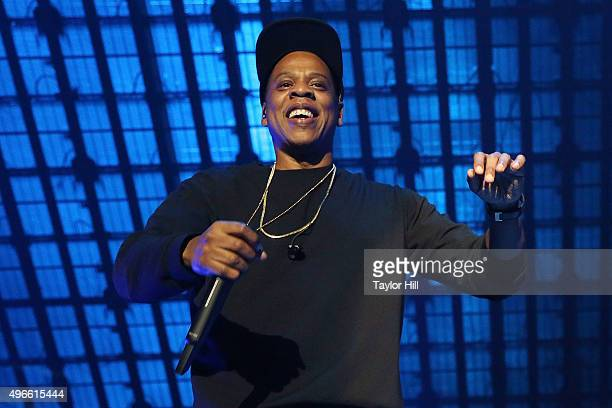 Jay Z performs during Tidal X 1020 at Barclays Center on October 20 2015 in the Brooklyn borough of New York City