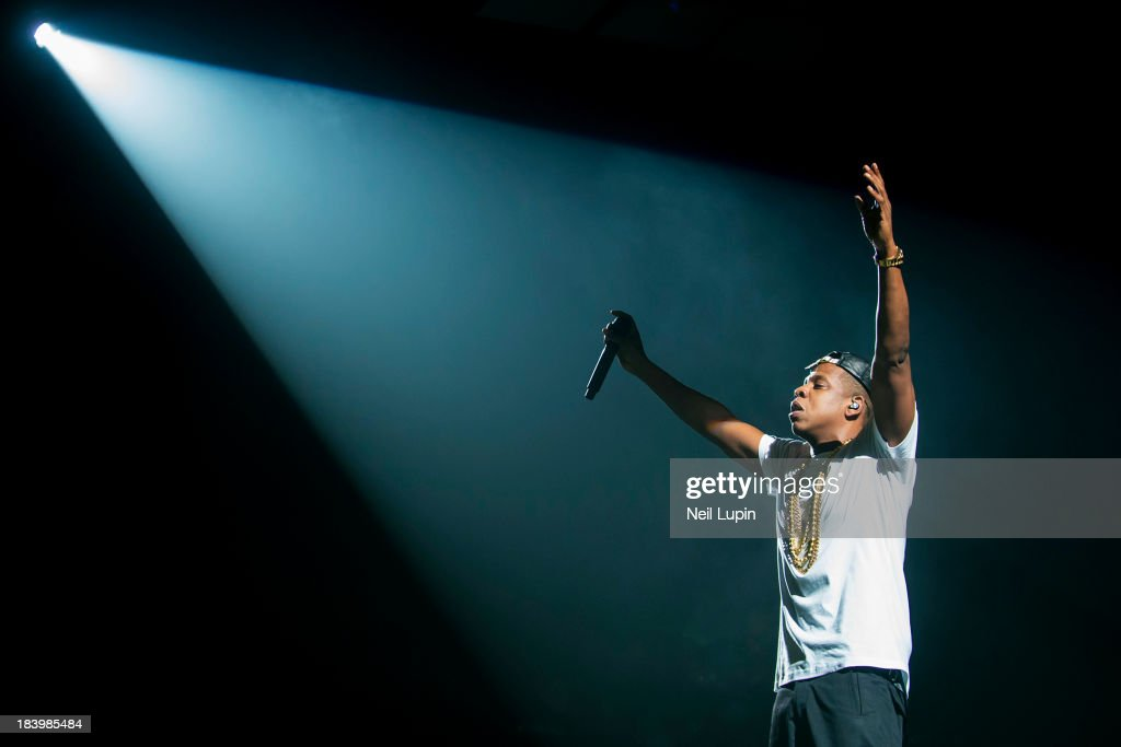 Jay Z performs on stage at O2 Arena on October 10, 2013 in London, England.
