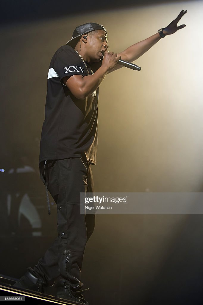Jay Z performs on stage at Oslo Spektrum during his Magna Carter World Tour 2013 on October 23, 2013 in Oslo, Norway.