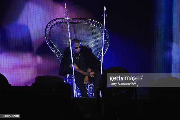 Jay Z performs on stage during closing night of Beyonce's 'The Formation World Tour' at MetLife Stadium on October 7 2016 in East Rutherford New...