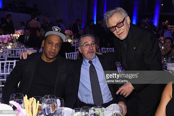 Jay Z Robert De Niro and Harvey Keitel attends the 2016 amfAR New York Gala at Cipriani Wall Street on February 10 2016 in New York City