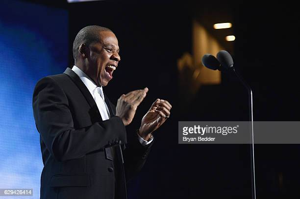 Jay Z speaks onstage during the Sports Illustrated Sportsperson of the Year Ceremony 2016 at Barclays Center of Brooklyn on December 12 2016 in New...