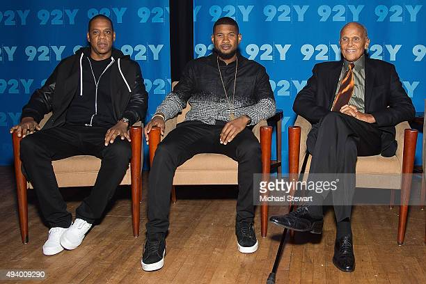 Jay Z Usher and Harry Belafonte attend 92nd Street Y Presents 'Breaking The Chains' of Social Injustice at 92nd Street Y on October 23 2015 in New...