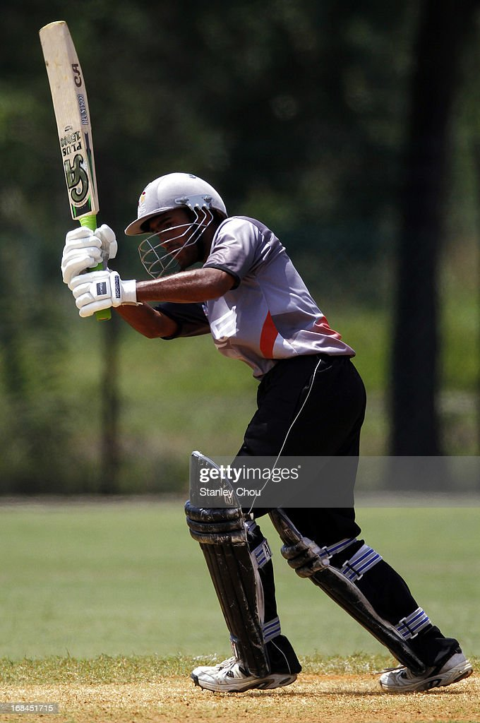 Jay Zamin Jaleel of UAE hits during the ACC U-19 Elite Cup Semi Final match between UAE and Nepal at the Bayuemas Oval on May 10, 2013 in Kuala Lumpur, Malaysia.