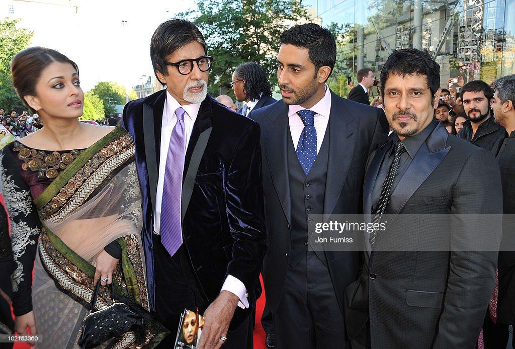 Jaya Bachchan, Aishwarya Rai and Abhishek Bachchan and Amitabh Bachchan arrives at the London premiere of 'Raavan' at BFI Southbank on June 16, 2010 in London, England.