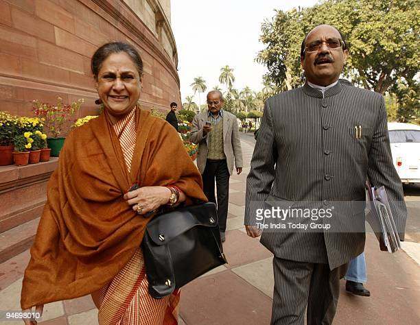 Jaya Bachchan and Amar Singh at Parliament in New Delhi on December 16 2009