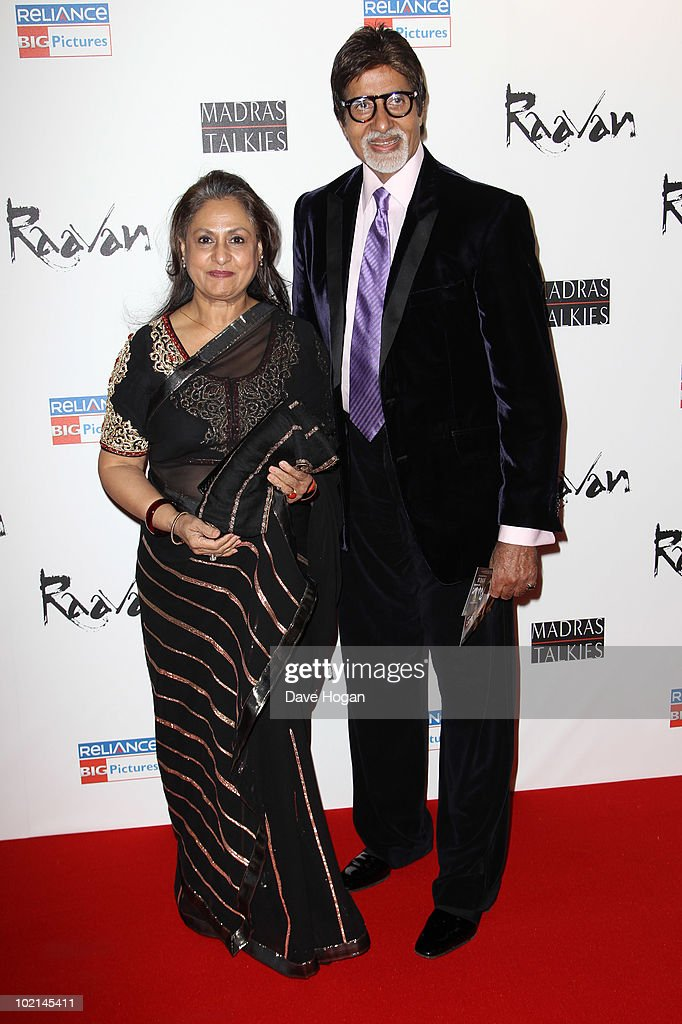<a gi-track='captionPersonalityLinkClicked' href=/galleries/search?phrase=Jaya+Bachchan&family=editorial&specificpeople=1026829 ng-click='$event.stopPropagation()'>Jaya Bachchan</a> and <a gi-track='captionPersonalityLinkClicked' href=/galleries/search?phrase=Amitabh+Bachchan&family=editorial&specificpeople=220394 ng-click='$event.stopPropagation()'>Amitabh Bachchan</a> attend the world premiere of Raavan held at The BFI Southbank on June 16, 2010 in London, England.