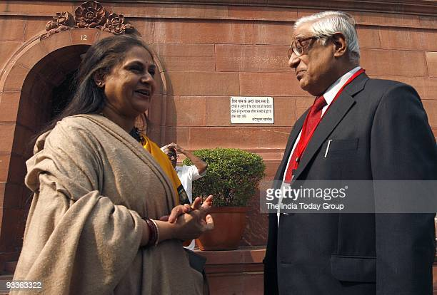 Jaya Bachchan and editorinchief of The Tribune group of newspapers HK Dua at Parliament House in New Delhi on Monday November 23 2009
