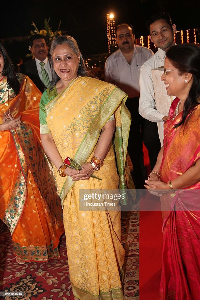 Jaya Bachchan at the wedding reception of educationist Dr SB Mujumdar's grandson Ameya Yeravdekar and Swati Thorat at Delhi Gymkhana on March 22, 2013 in New Delhi, India.