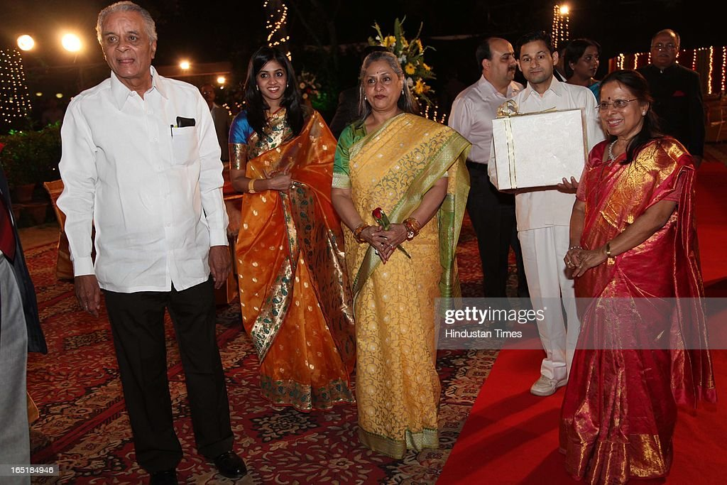 Jaya Bachchan with proud grandparents SB Mujumdar and Sanjivani at the wedding reception of Ameya Yeravdekar and Swati Thorat at Delhi Gymkhana on March 22, 2013 in New Delhi, India.