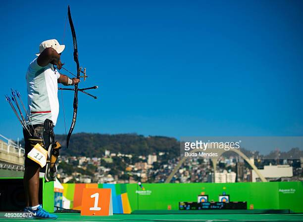 Jayanta Talukdar of India prepares to shoot during the Archery test event for the Rio 2016 Olympic Games at Sapucai Sambodrome on September 20 2015...