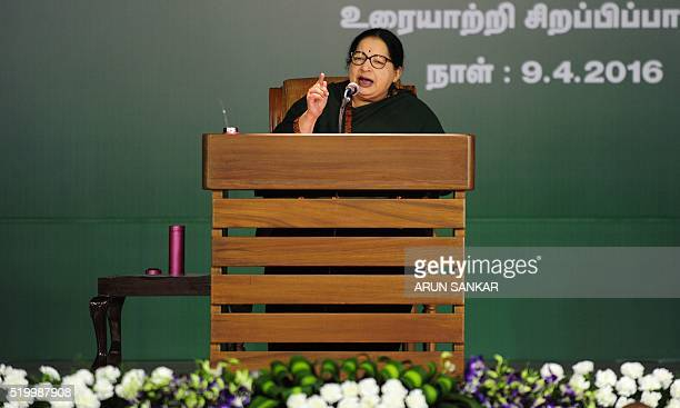 Jayaram Jayalalitha leader of the Anna Dravida Munnetra Kazhagam state political party addresses a campaign rally in Chennai on April 9 2016 State...