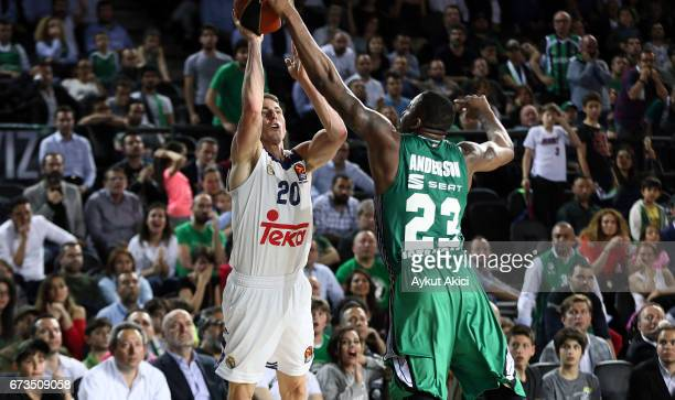Jaycee Carroll #20 of Real Madrid in action during the 2016/2017 Turkish Airlines EuroLeague Playoffs leg 3 game between Darussafaka Dogus Istanbul v...