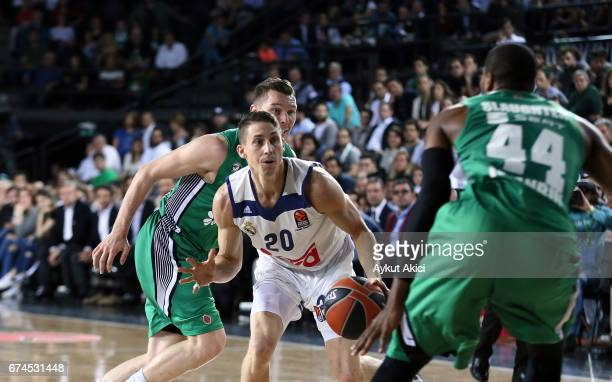 Jaycee Carroll #20 of Real Madrid in action during the 2016/2017 Turkish Airlines EuroLeague Playoffs leg 4 game between Darussafaka Dogus Istanbul v...