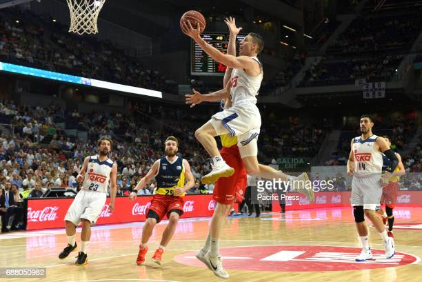 Jaycee Carroll #20 of Real Madrid in action during the first game of the quarter final of basketball Endesa league between Real Madrid and Morabanc...