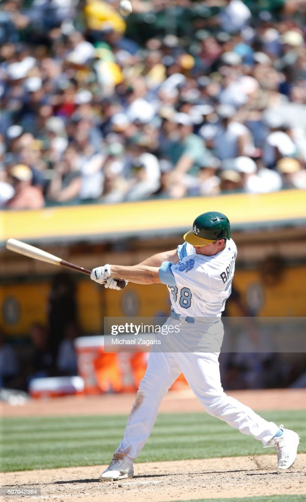 Jaycob Brugman #38 of the Oakland Athletics bats during the game against the New York Yankees at the Oakland Alameda Coliseum on June 18, 2017 in Oakland, California. The Athletics defeated the Yankees 4-3.