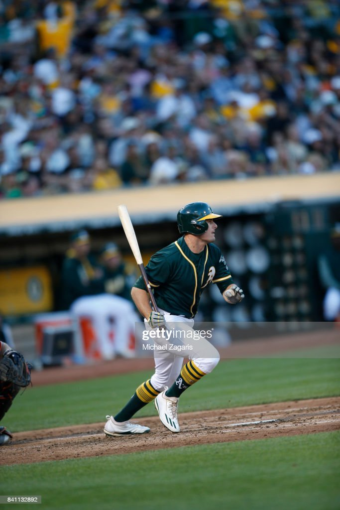 Jaycob Brugman #38 of the Oakland Athletics bats during the game against the San Francisco Giants at the Oakland Alameda Coliseum on July 31, 2017 in Oakland, California. The Athletics defeated the Giants 8-5.