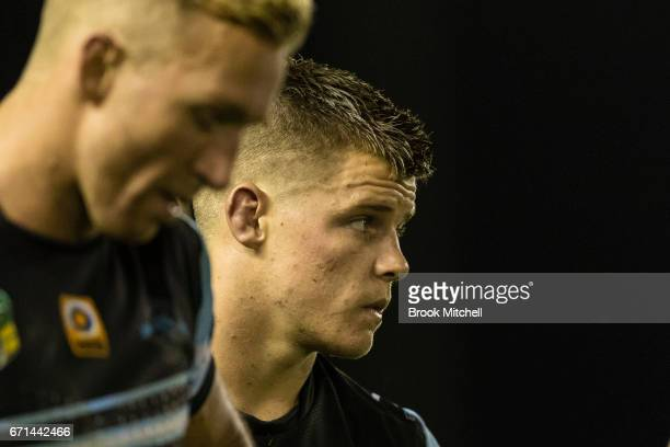 Jayden Brailey of the Sharks looks dejected after their team's defeat in the round eight NRL match between the Cronulla Sharks and the Gold Coast...