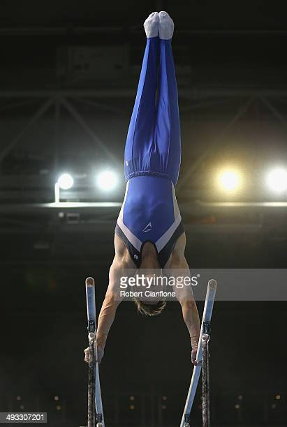 Jayden Bull of Victoria competes in the parallel bars during the Australian National Gymnastics Championships at Hisense Arena on May 23 2014 in...