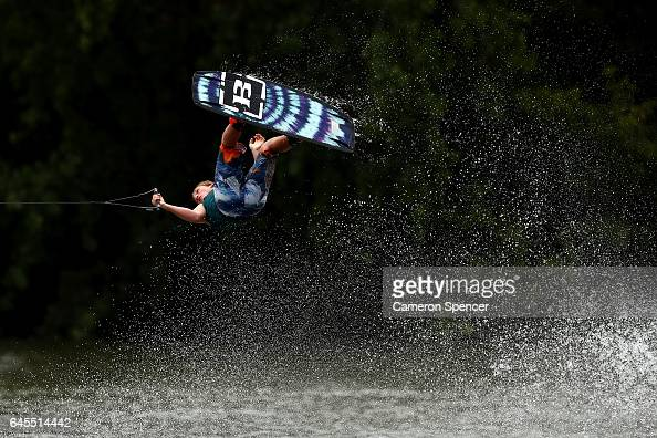 Jayden Hayer competes in the NSW Wakeboarding State Titles at Govenor Phillip Park in Windsor on February 26 2017 in Sydney Australia
