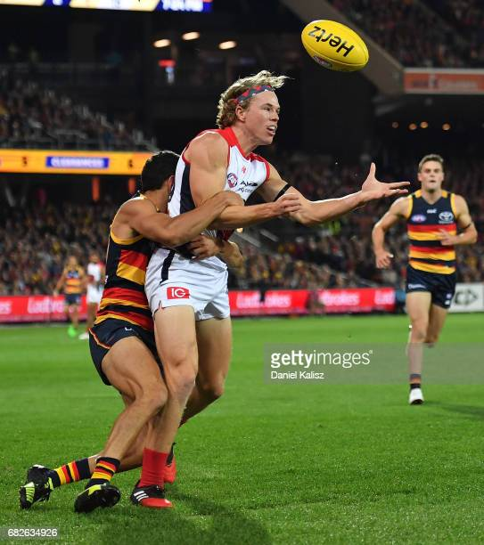 Jayden Hunt of the Demons attempts to mark the ball during the round eight AFL match between the Adelaide Crows and the Melbourne Demons at Adelaide...