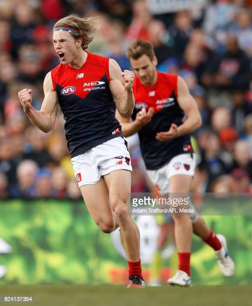 Jayden Hunt of the Demons celebrates a goal during the 2017 AFL round 19 match between the North Melbourne Kangaroos and the Melbourne Demons at...