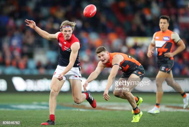 Jayden Hunt of the Demons kicks during the round 20 AFL match between the Greater Western Sydney Giants and the Melbourne Demons at UNSW Canberra...