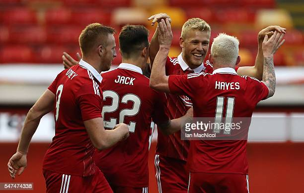Jayden Stockley of Aberdeen celebrates his goal during the UEFA Europa league second qualifying round first leg match between Aberdeen and Ventspils...
