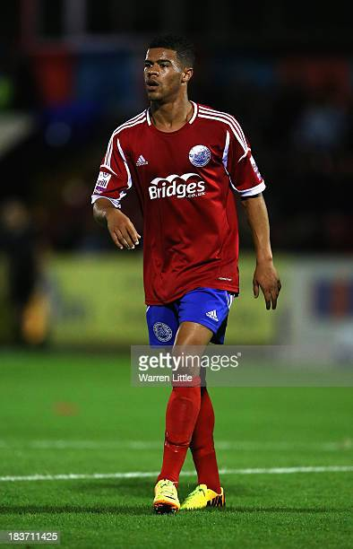 Jaydon Gibbs of Aldershot in action during the Skrill Conference Premier match between Aldershot Town and Luton Town at Electrical Servies Stadium on...