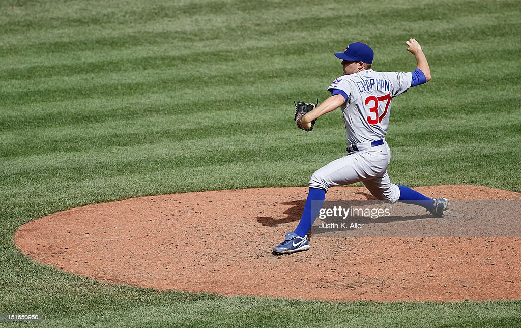 Jaye Chapman #37 of the Chicago Cubs pitches in relief against the Pittsburgh Pirates during the game on September 9, 2012 at PNC Park in Pittsburgh, Pennsylvania.