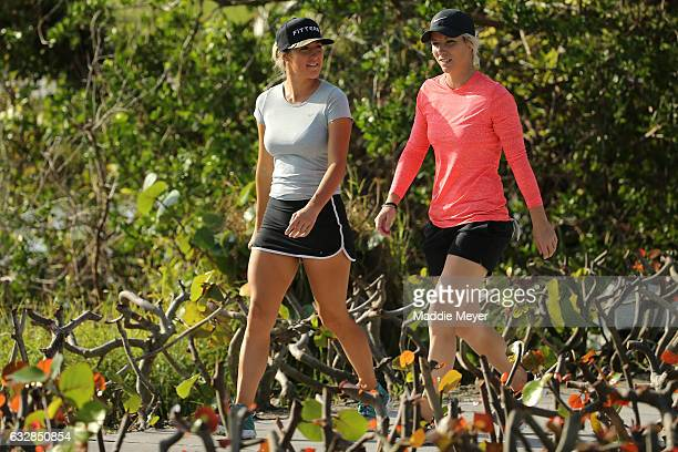 Jaye Marie Green of the United States and Mel Reid of England walk to the fourth tee box during round two of the Pure Silk Bahamas LPGA Classic on...