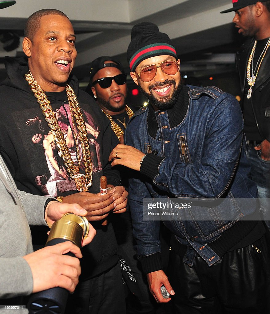 Jay-J, Young Jeezy and Kenny Burns attend the So So Def anniversary party hosted by Jay Z at Compound on February 23, 2013 in Atlanta, Georgia.