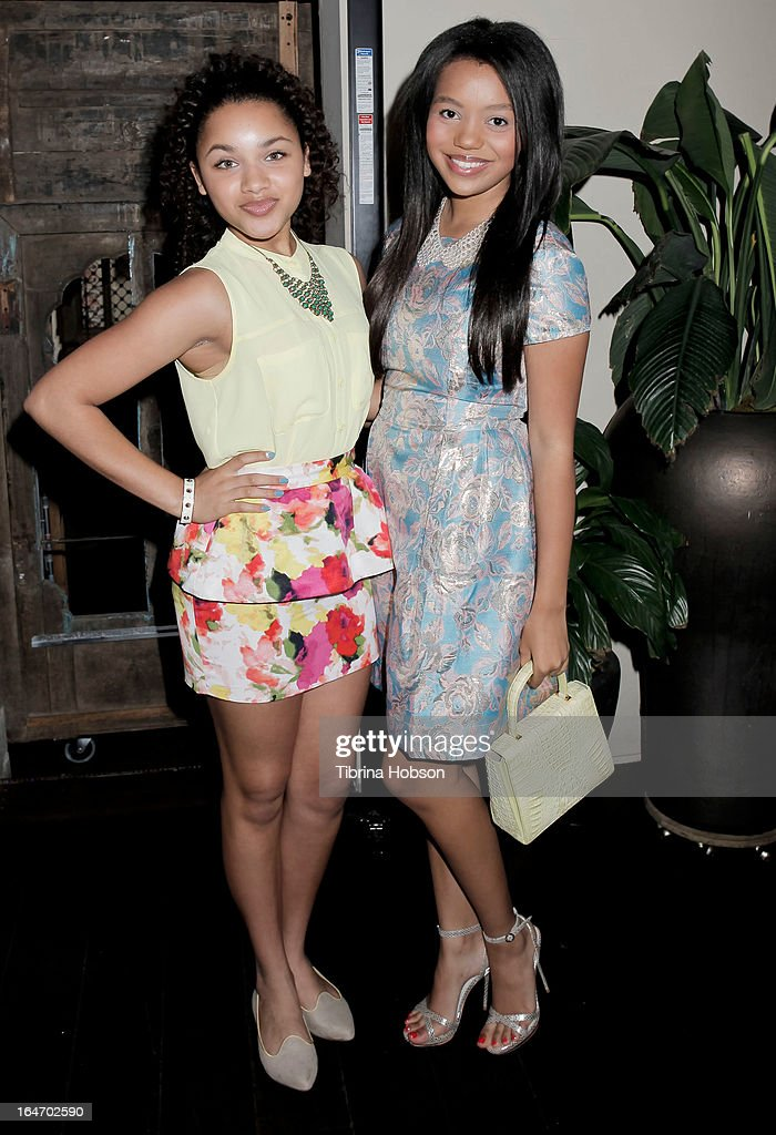 Jaylen Barron and Daphne Blunt attend Boohoo's Summer 2013 press day at SUR Lounge on March 26, 2013 in Los Angeles, California.