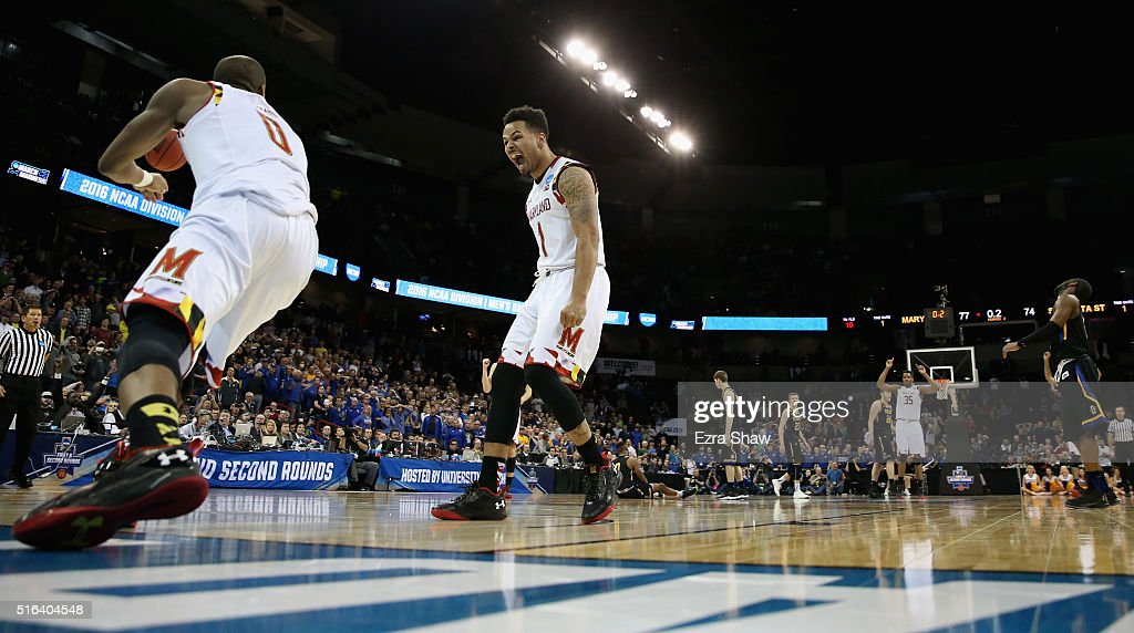 Jaylen Brantley #1 of the Maryland Terrapins and <a gi-track='captionPersonalityLinkClicked' href=/galleries/search?phrase=Rasheed+Sulaimon&family=editorial&specificpeople=7887134 ng-click='$event.stopPropagation()'>Rasheed Sulaimon</a> #0 of the Maryland Terrapins celebrate a dunk in the closing seconds of the Terrapins 79-74 win over the South Dakota State Jackrabbits during the first round of the 2016 NCAA Men's Basketball Tournament at Spokane Veterans Memorial Arena on March 18, 2016 in Spokane, Washington.
